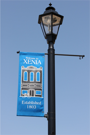 Street Light with Welcome to Xenia Established in 1803 Sign