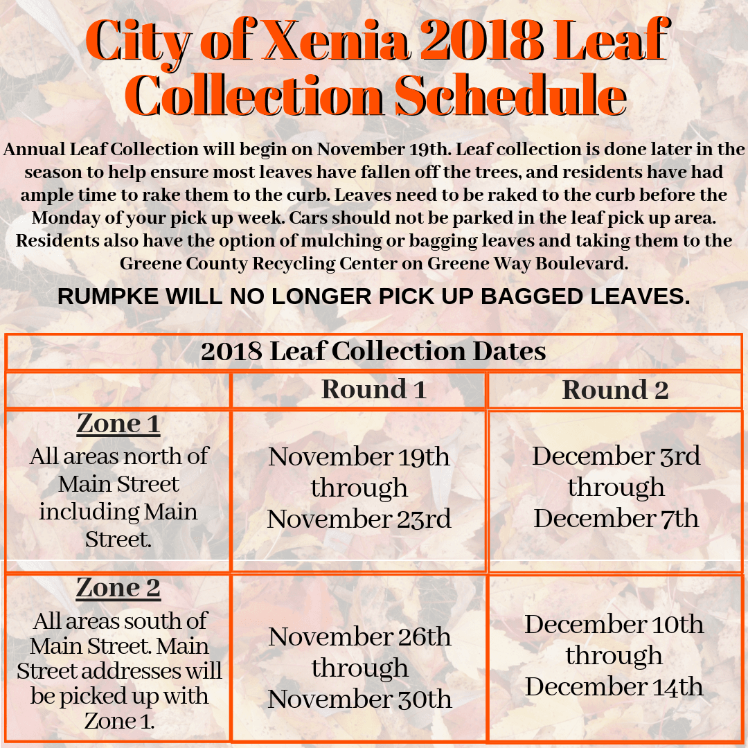 City of Xenia 2018 Leaf Collection Schedule