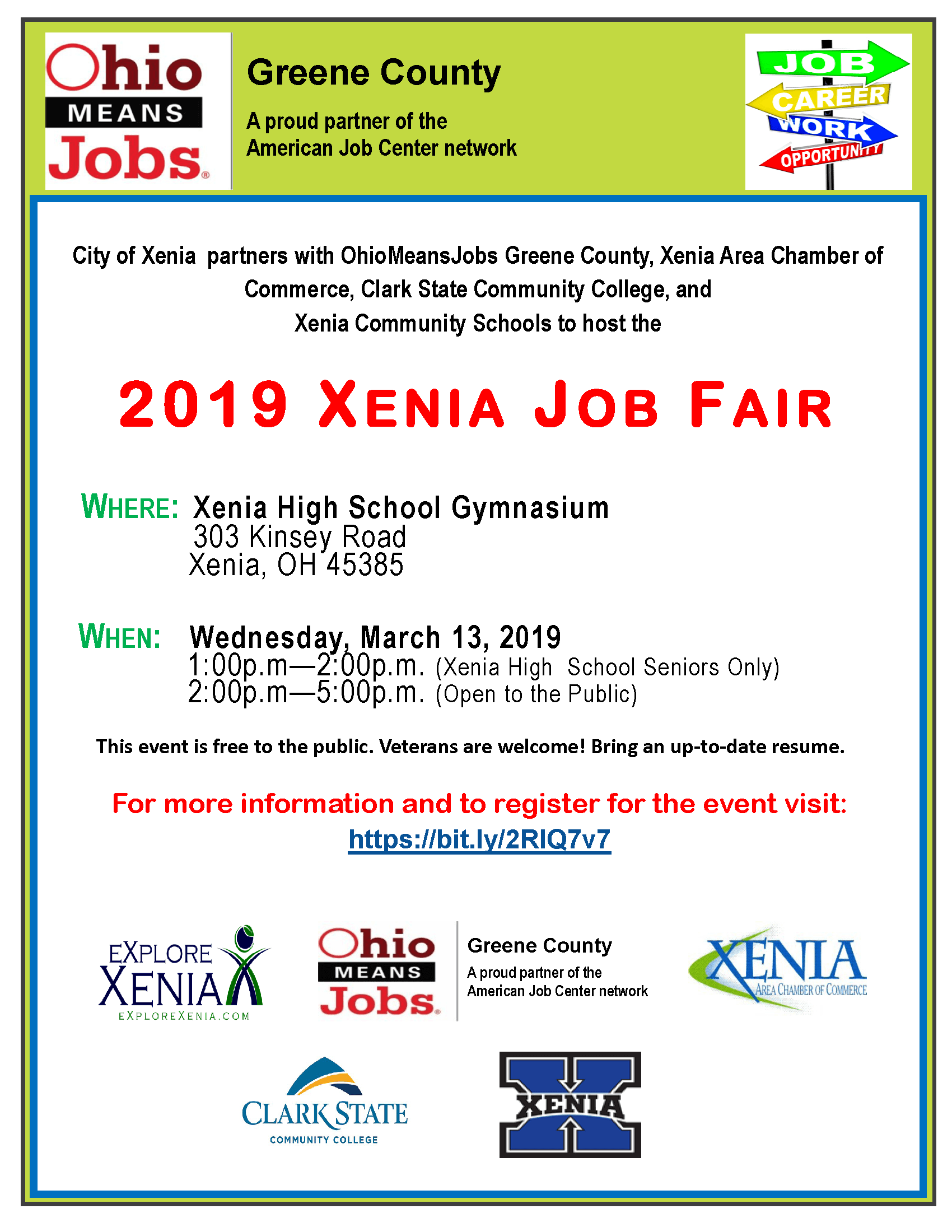 Xenia Job Fair 2019 FLYER