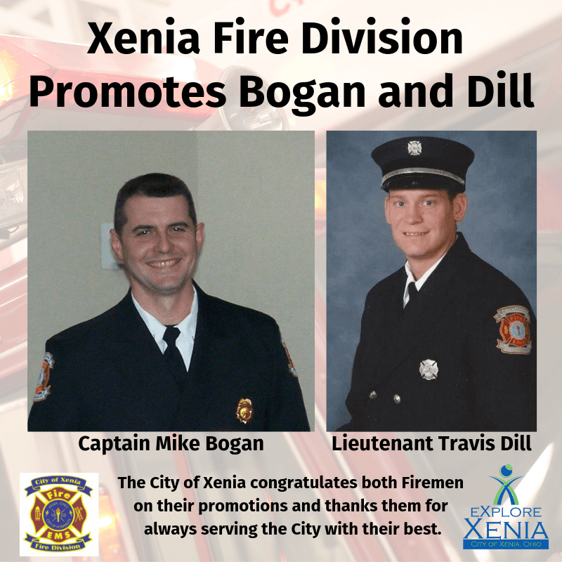 Xenia Fire Division Promotes Bogan and Dill
