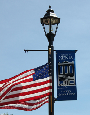 Streetlight with Town Banner and American Flag