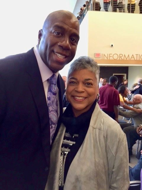 Marsha Bayless and Magic Johnson