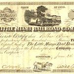 A share certificate of the Little Miami Railroad