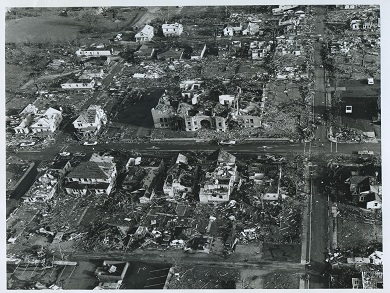 Aerial Photo Showing Destroyed School