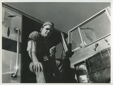 Air Force Guardsman Volunteer Resting in a Truck